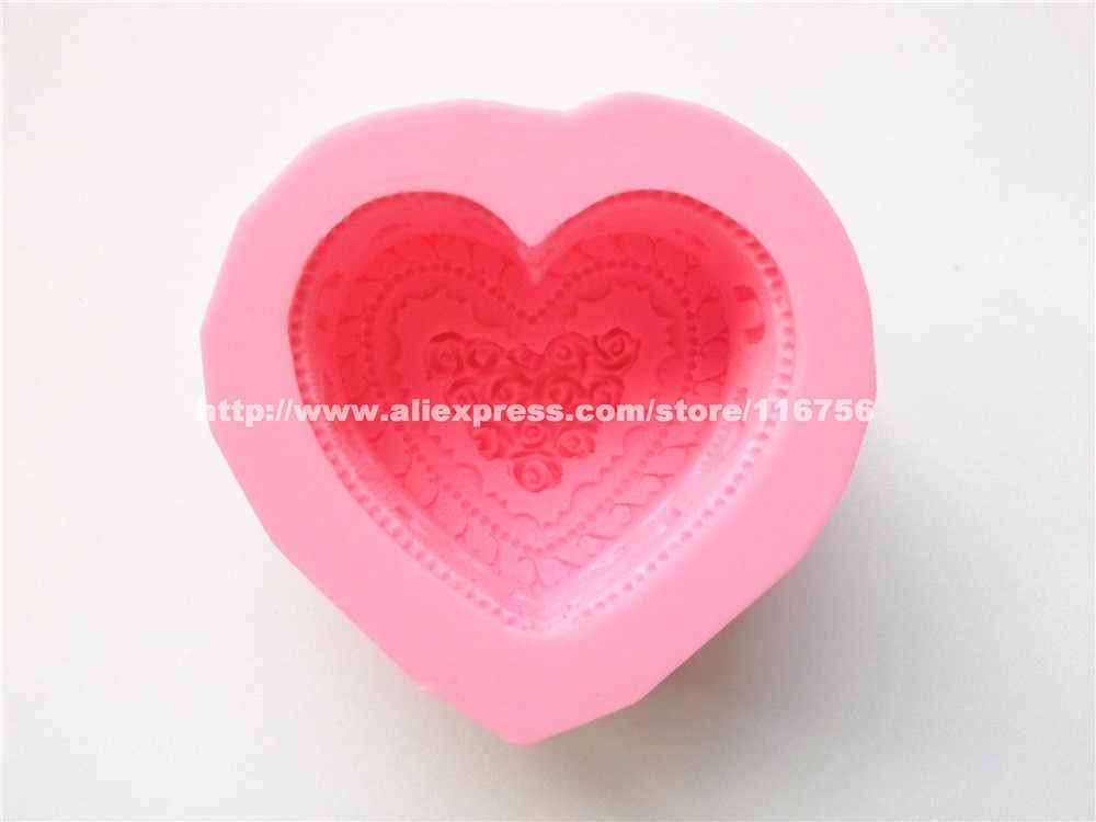 Nieuwe! Gratis verzending hart taart vormige siliconen zeep schimmel cake decoratie fondant cake 3d mold food siliconen mould 253