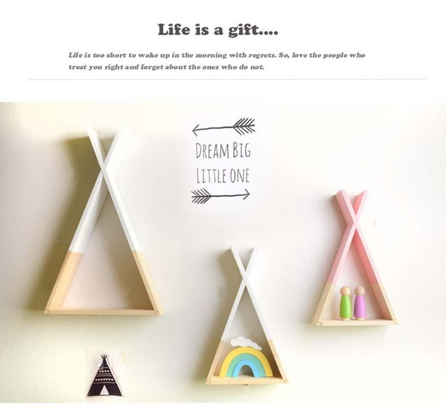 Lovely Triangular Storage Shelves Nordic Style Kids Baby Room Wooden Decorative Shelf Book Shelf for Bedroom Home Decoration 3