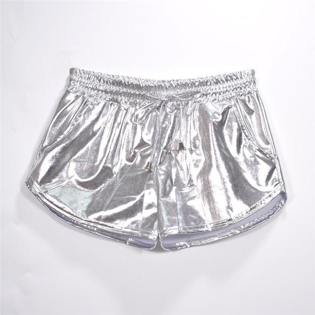Women Shiny Metallic Hot Shorts 2019 Summer Holographic Wet Look Casual Elastic Drawstring Festival Rave Booty Shorts 6