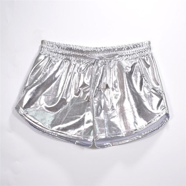 Women Shiny Metallic Hot Shorts 2019 Summer Holographic Wet Look Casual Elastic Drawstring Festival Rave Booty Shorts 56