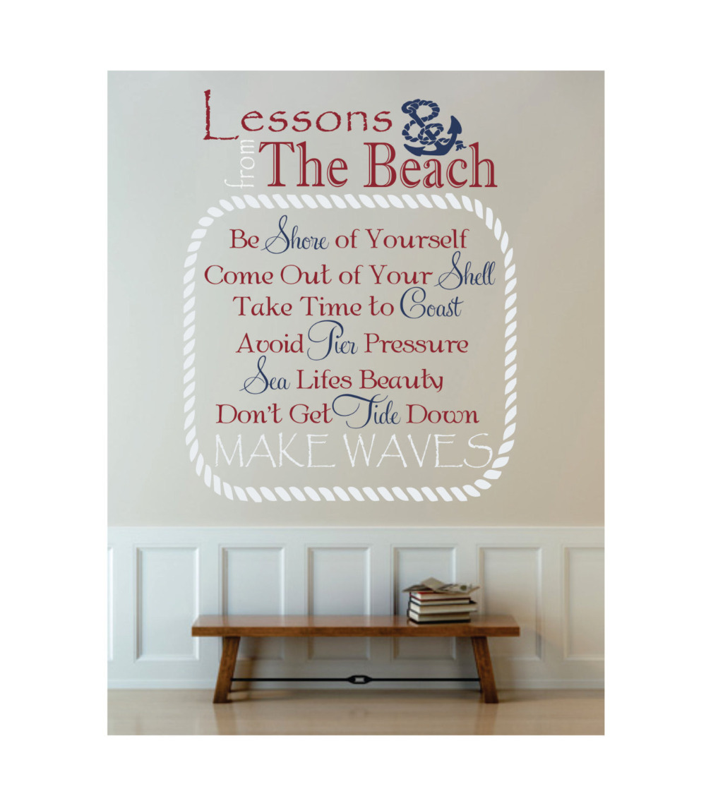 Us 14 64 Nautical Beach Art Decals Beach Theme Vinyl Wall Decal Boat Anchor Beach Cottage Decor Removable Wall Stickers Living Room Za605 In Wall
