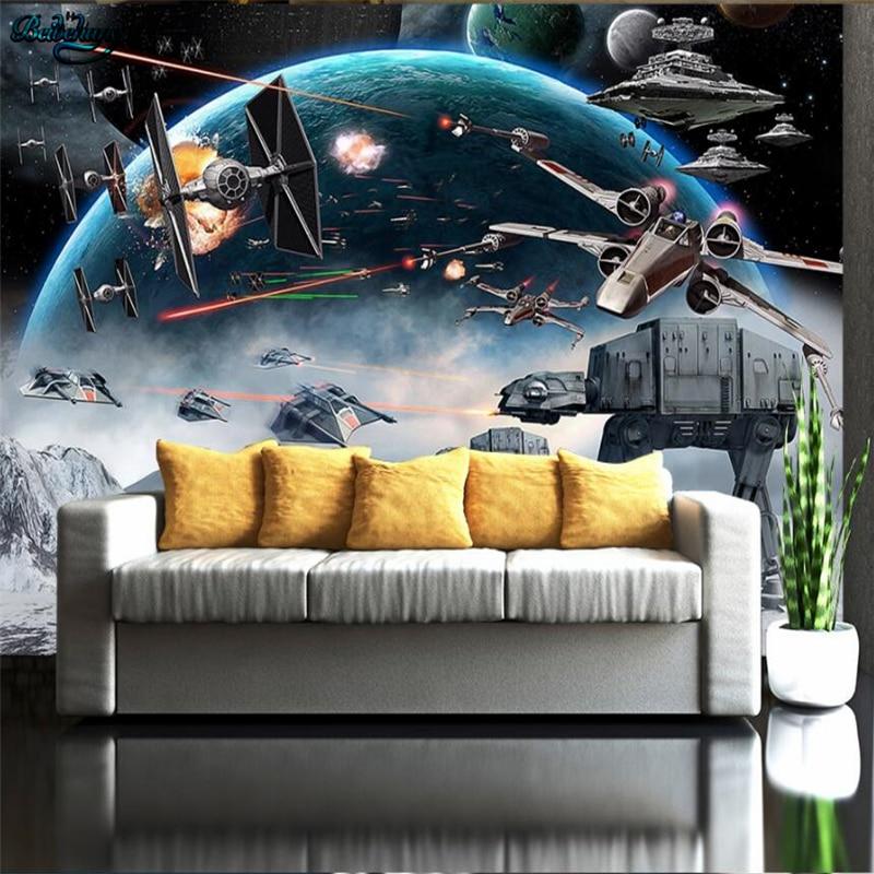 Купить с кэшбэком beibehang Large custom wallpaper Shock Star Wars KTV Internet cafes theme tooling background wall decoration