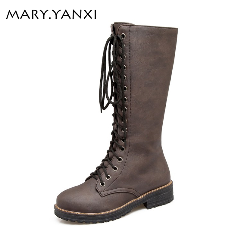 Big size shoes women winter boots square heel knee-high casual martin boots for women boots lace up patent leather knight boots
