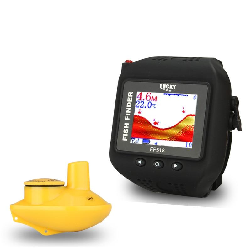 Lucky 2017 nouveau Type de montre Sonar poisson Finder sans fil sondeur 180 pieds (60 M) portée Portable sondeur FF518 sondeurs d'écho