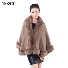 ФОТО   Winter Poncho Fourrure Faux Fur Coat Knitted Cardigan Shawl Cape Cashmere Coat  Size Sweater Female
