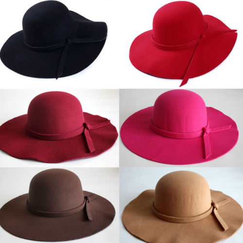 018 New Vintage Country Style Girl Fashion Women Wide Brim Hat Felt Bowler Cap Lady Floppy Cloche Solid Bowknot Elegant Sun Hat