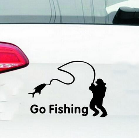 1x Beauty Go Fishing Car Stickers Outdoor Sport Car Styling Decoration Black/White