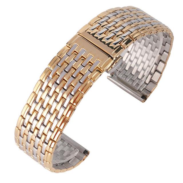 Luxo Stainless Steel Watch Strap 20/22 milímetros Pulseira Assista Bracelete Banda Ligação Sólida Ouro Amarelo e Pulseira de Prata Moda HQ
