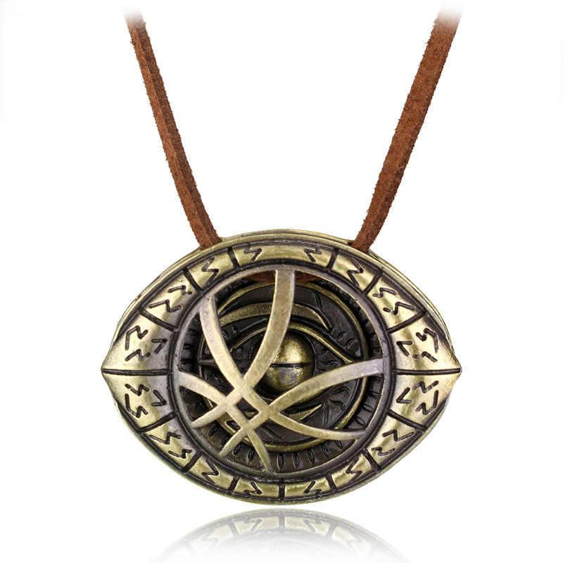 3D pendentif collier Dr. Thème étrange Steve Cosplay Agamotto oeil pendentif collier en cuir véritable chaîne bijoux cadeau