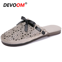 New Teenslippers Women China's Style Slippers Women Summer Female Slippers Bow Sandals Light Hollow Genuine Leather Mules Women