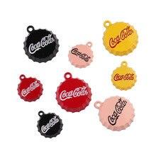 10pcs Cola Drink Bottle Enamel Cap Charms Drop Oil Alloy Pendants Beverage Floating DIY Earring Bracelet Jewelry Accessory FX015