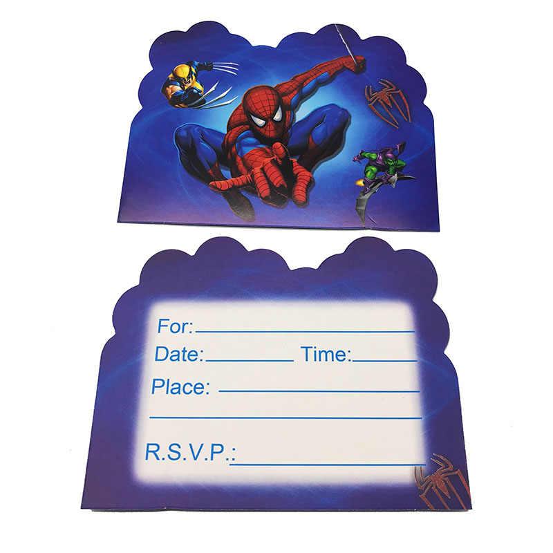 10pcs Pack Spider Man Theme Invitations Spiderman Theme