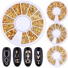 Blueness 1 колесо золотые металлические шпильки для ногтей Звезда Луна цветы заклепки Дизайн 3D украшения для ногтей медные аксессуары для маникюра