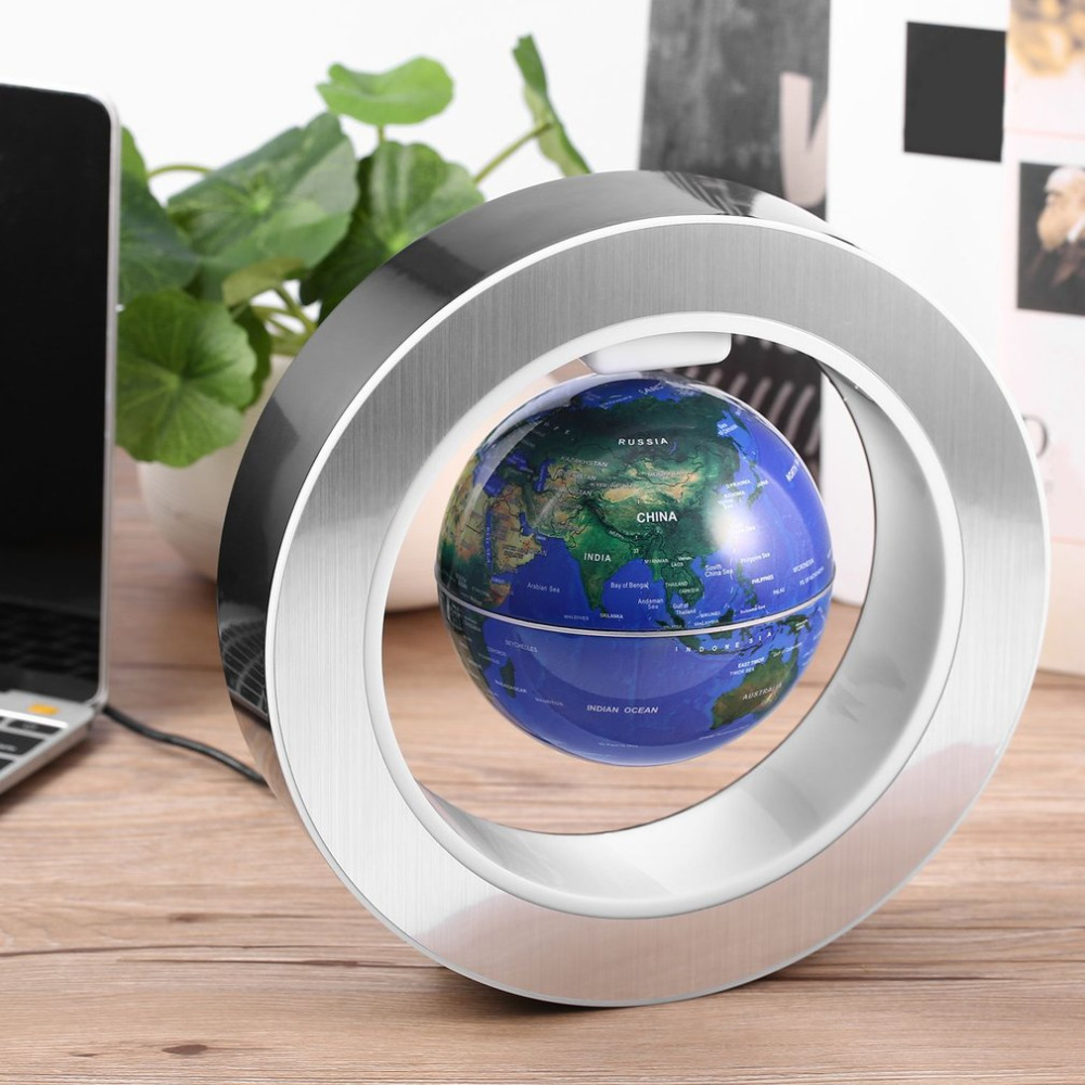 Novelty LED Floating Tellurion Round Magnetic Levitation Globe World Map with Led Light Us Plug Home Office Decor 3 Colors