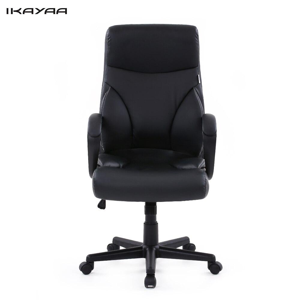 IKayaa US Stock Dxracer PU Leather Adjustable Swivel Office Executive Chair  Stool High Back Computer Chair Task Office Furniture
