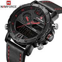 NAVIFORCE męskie zegarki Top marka luksusowy oryginalny zegarek sportowy mężczyźni skóra 30M wodoodporny zegarek na rękę z podwójnym wyświetlaczem