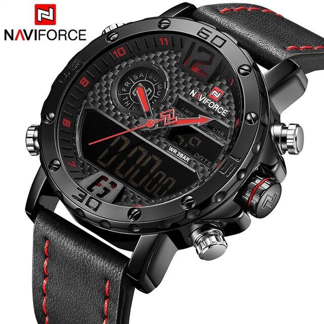 Relojes Para Hombre de NAVIFORCE, reloj deportivo Original de lujo de marca superior, reloj de pulsera de cuero de 30 M resistente al agua con doble pantalla