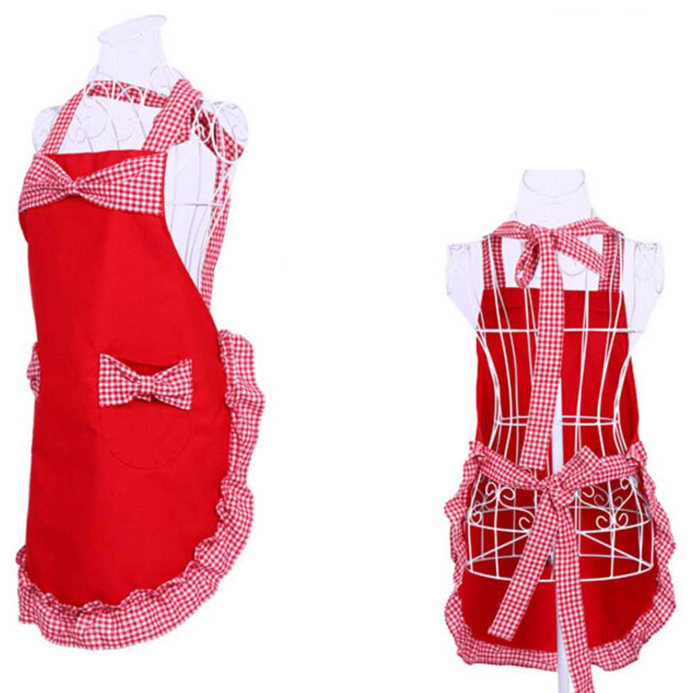 Princess Rural Style Cotton Grid Pattern Working Chefs Kitchen Cooking  Ladies Set Apron With Bowknots Pockets