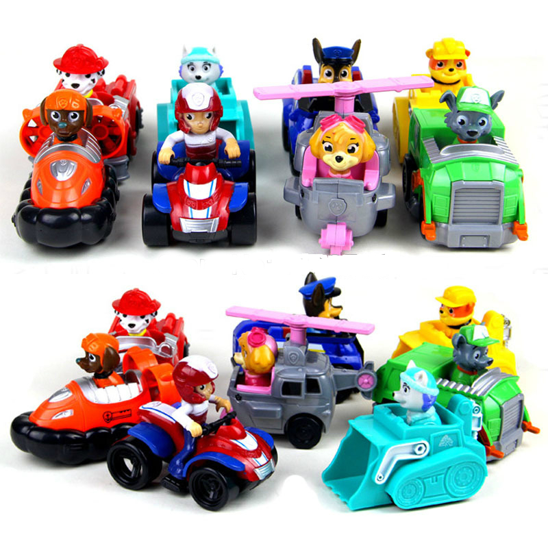 8Pcs/Set Patrol Dog Toys Anime Action Figures Car Patrol Puppy Toy Patrulla Canina Juguetes Gift for Child new 3 5inch patrol dog anime toys action figure moviejuguetes brinquedos cute puppy patrol toys for child gift girls children