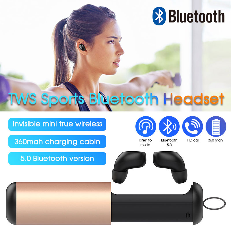 New <font><b>T5</b></font> <font><b>TWS</b></font> Bluetooth Earphone Headphone With Mic True Wireless Earbuds Bluetooth 5.0 Headset With Charge Case For iPhone Xiaomi image