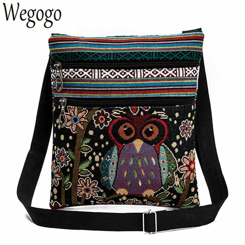 PengMin Barn Owl On The Tree Fashion Womens Multi-Pocket Vintage Canvas Handbags Miniature Shoulder Bags Totes Purses Shopping Bags