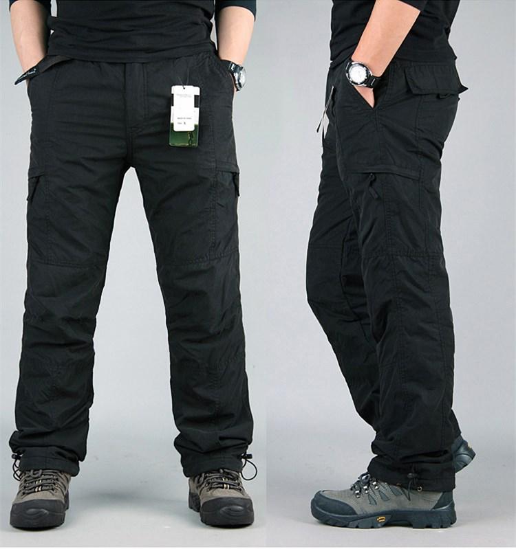 Men's Cargo Pants 2019 Winter Casual Warm Thicken Fleece Pants Men Cotton Multi Pockets Combat Military Baggy Tactical Pants 29
