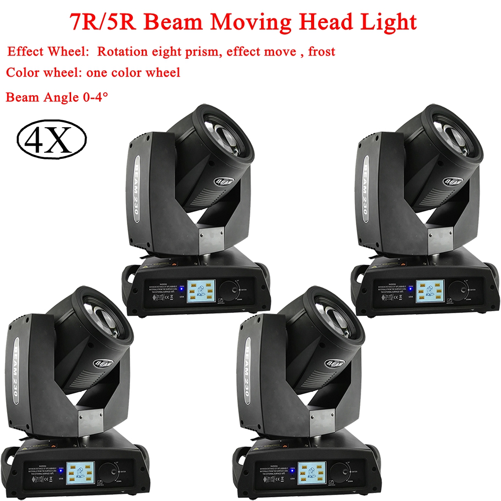 4Pcs/LotIn Flightcase  230W 7R / 200W 5R Beam Moving Head Lights DMX512 Control For Disco Dj Led Party Bar Laser Stage Lighting