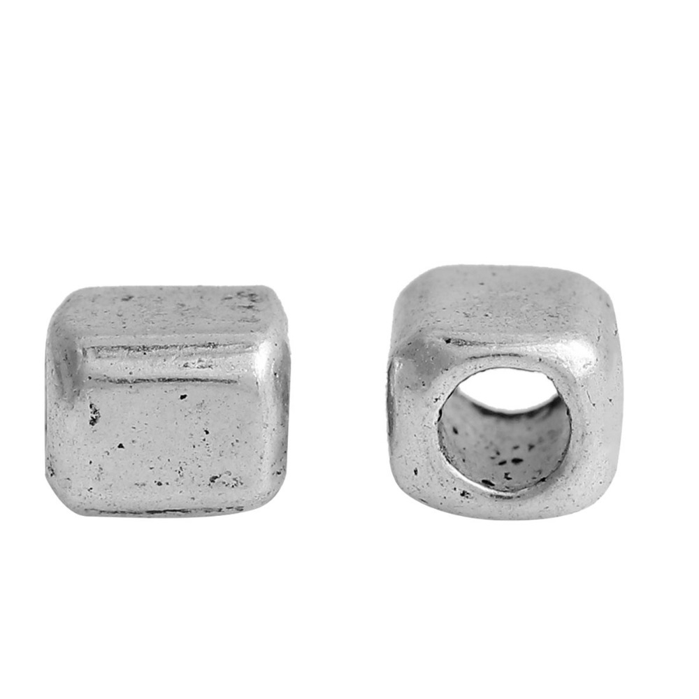200 Pcs Firm In Structure Doreenbeads Zinc Based Alloy Antique Silver Diy Spacer Beads Cube About 4mm 1/8 1/8 Hole: Approx 2.2mm X 3.5mm