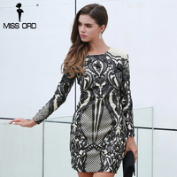 Missord 2017 Sexy O Neck Long Sleeve Geometric Graphic Sequin Black Color Elegant Dress FT8540