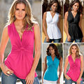 Summer Fashion Women Casual Tanks Sexy V Neck Tank Tops Slim Solid Color Tees Sleeveless T Shirt