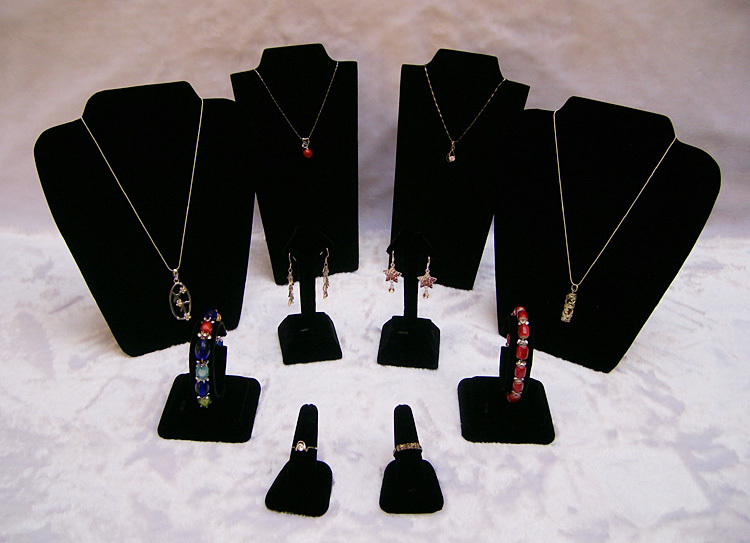 Wholesale Black Velvet Jewelry Display Suit Jewelry Stands Kit For 2013 Fashion Show