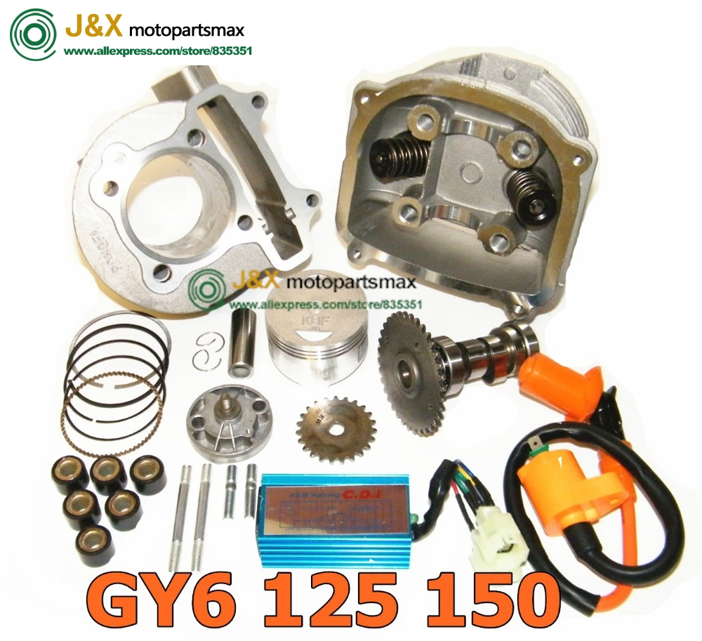US $66 49 5% OFF|GY6 150cc SCOOTER PARTS 4 stroke bicycle engine kit 157QMJ  Engine Cylinder Kit / Cylinder Head 157QMJ GY6 150cc-in Engine Cooling &