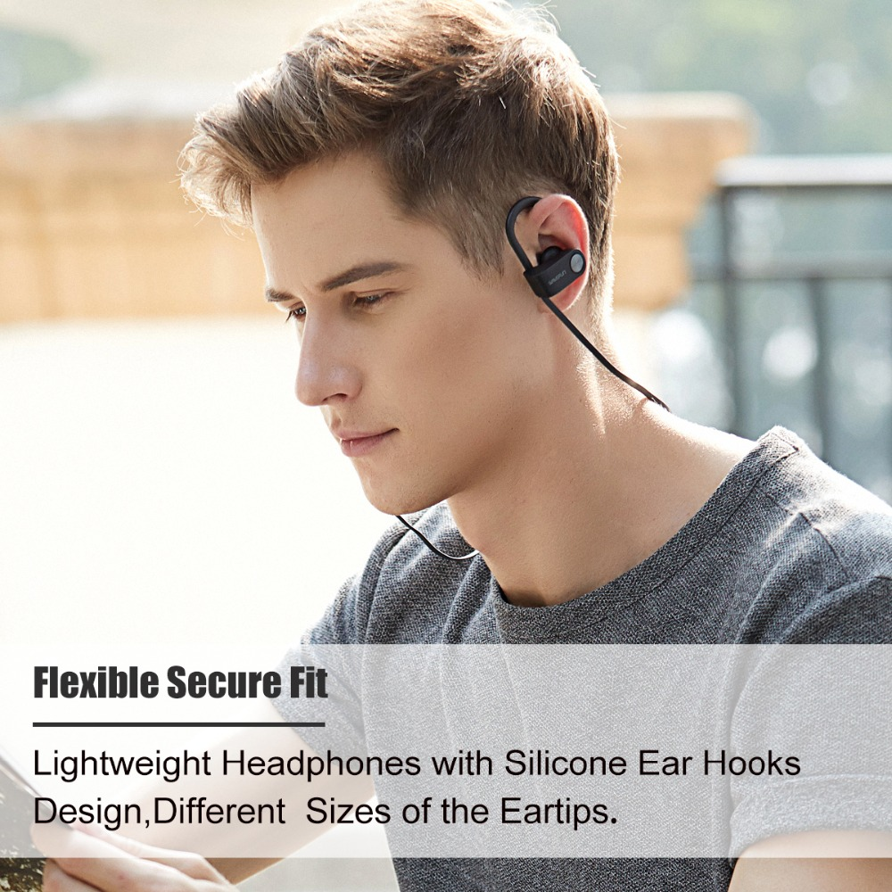 Wavefun bluetooth headphones IPX7 waterproof wireless headphone sports bass bluetooth earphone with mic for phone iPhone xiaomi 3