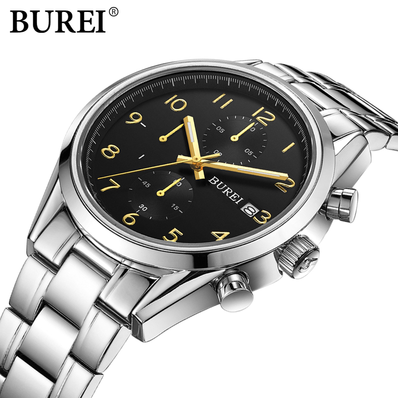 Luxury Brand BUREI Men multifunctional Business Watches Stainless Steel Date Clock Hour Male Quartz Wristwatch Relogio Masculino luxury brand burei men multifunctional business watches stainless steel date clock hour male quartz wristwatch relogio masculino