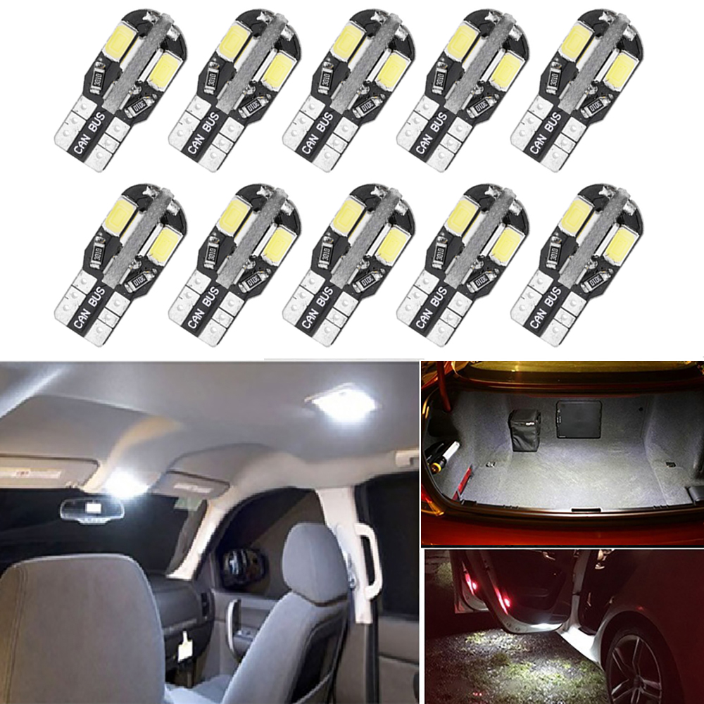 10x T10 W5W <font><b>LED</b></font> Canbus <font><b>Bulbs</b></font> Car Interior Dome Reading Lights For <font><b>VW</b></font> Golf 4 5 6 7 <font><b>Passat</b></font> B5 B6 <font><b>B7</b></font> Jetta Polo 6r 9n CC Tiguan t4 image