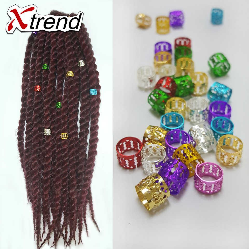 Разные цвета в косы волосы петли, 100 шт./лот с золотого, серебряного, розового и синего цвета красные, пурпурные, зеленые. Звенья, кольца и трубки