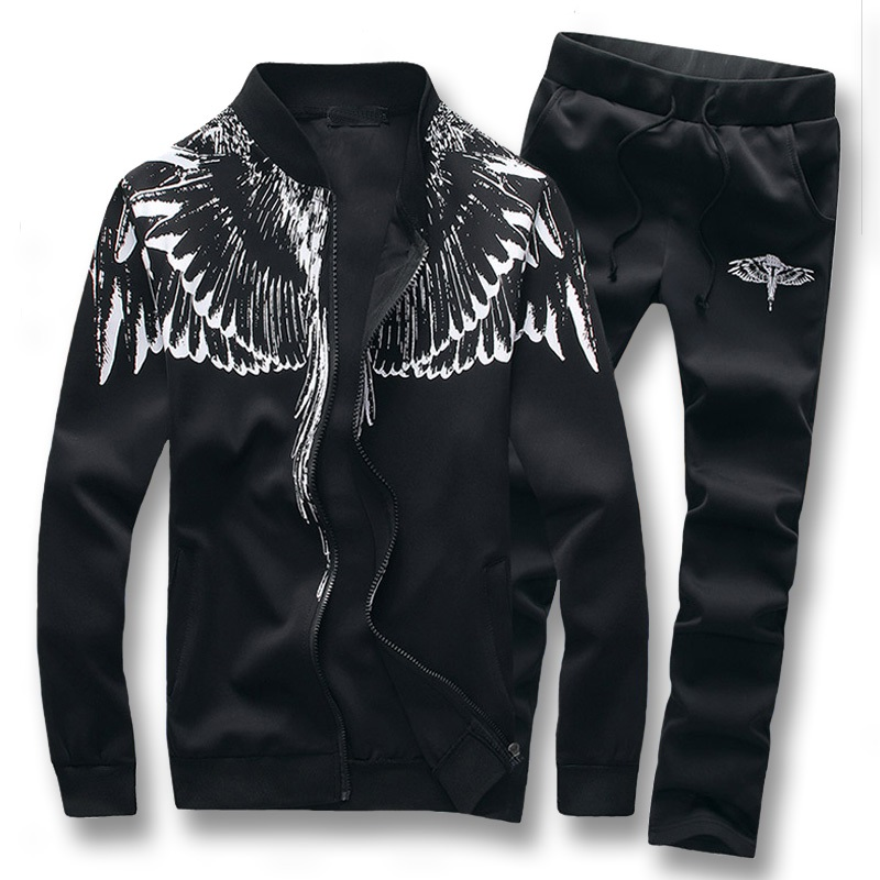 Men Tracksuit Set 2018 Autumn Mens Casual Sportswear Zipper Jacket+Pants 2PCS Sets Male Solid Printing Jogger Sporting Suit