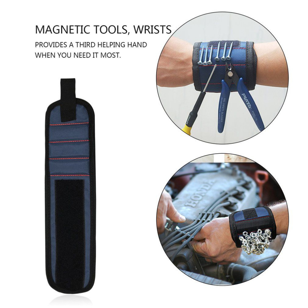 3 Colors Magnetic Wrist Support Band with Strong Magnets for Holding Screws Nail Bracelet Belt Support Chuck Sports Tool Storage