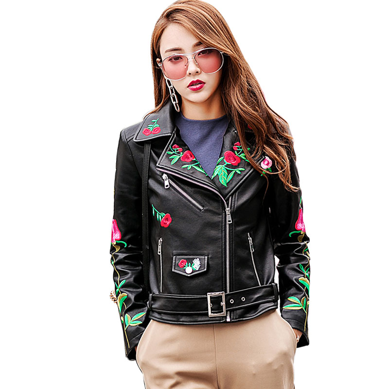 2017 Flowers Embroidery   Leather   Jacket Women Autumn Winter Embroidery Coat Perfecto Femme Cuir Motorcycle Deri Ceket LF17019