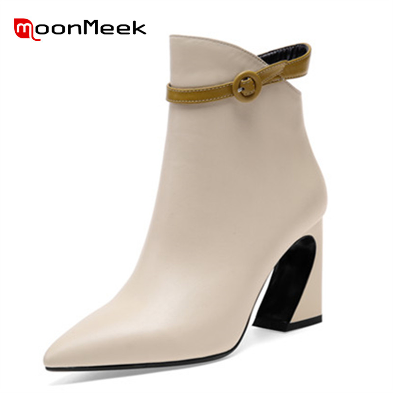 MoonMeek high quality dress shoes genuine leather boots women sexy super high heels ankle boots autumn winter ladies boots