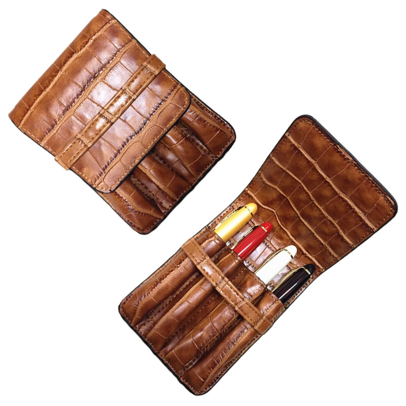 HOLDER FOR 4 PEN Case Luxury Coffee and orange options Leather Pencil Case/Bag For Roller Ball Pen / Fountain Pen /Ballpoint Pen