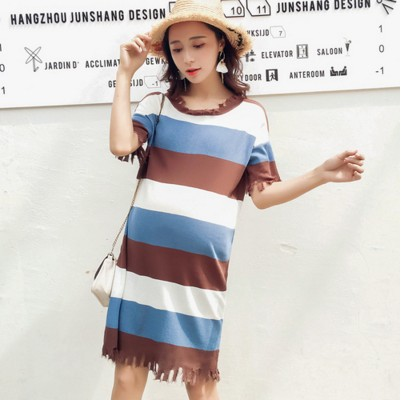 Maternity 2018 Summer New Pregnant Woman Dress Pregnant Woman Long Striped Skirt FF254
