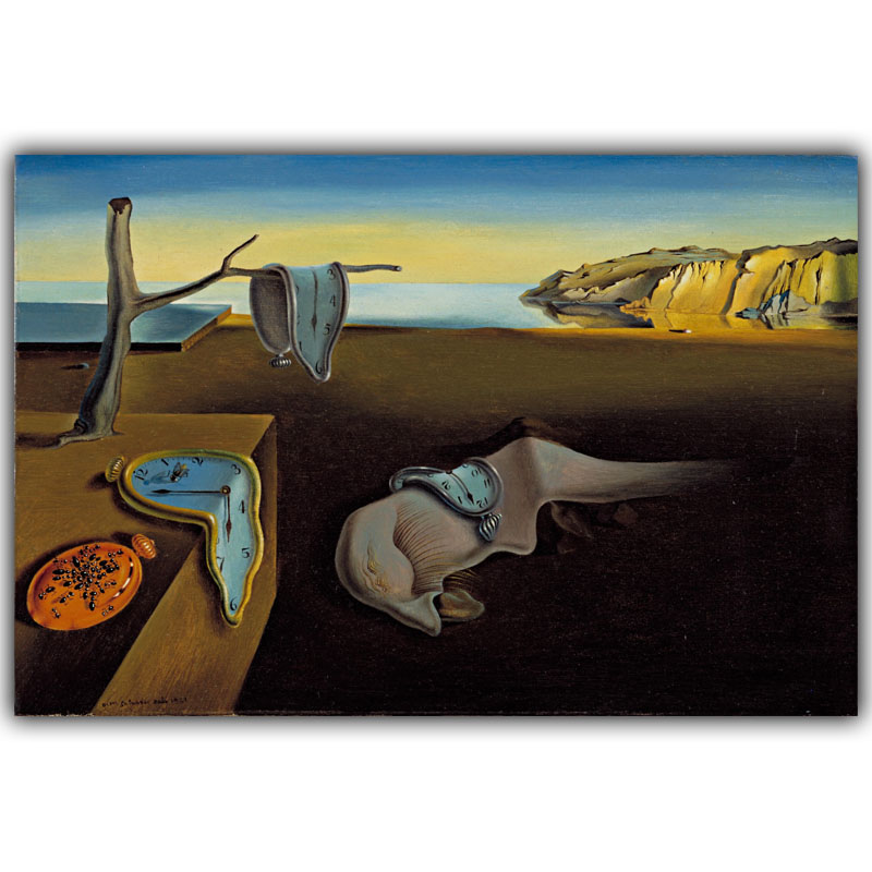 Salvador Dali Surrealism Abstract Painting Time Art Vintage Posters Photos Home Decoration Silk HH168