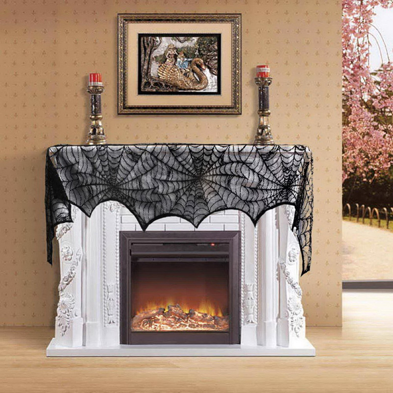 Halloween Party Supplies Fireplace Mantle Scarf Cover 258*46cm Black Lace Spiderweb Table Cloth For Halloween Decoration hearth