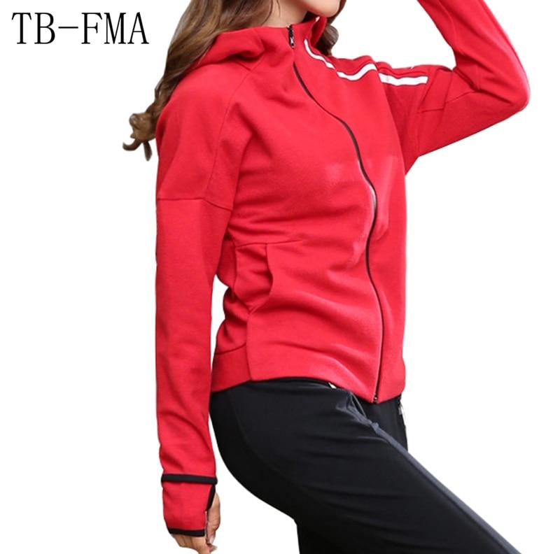 TB-FMA Yoga Shirts Overcoat Workout Top Winter Sport Long-sleeved Running Gym Sweatshirt Cloth Fitness Zipper Jacket Outerwear raglan sleeved gym t shirts in blue