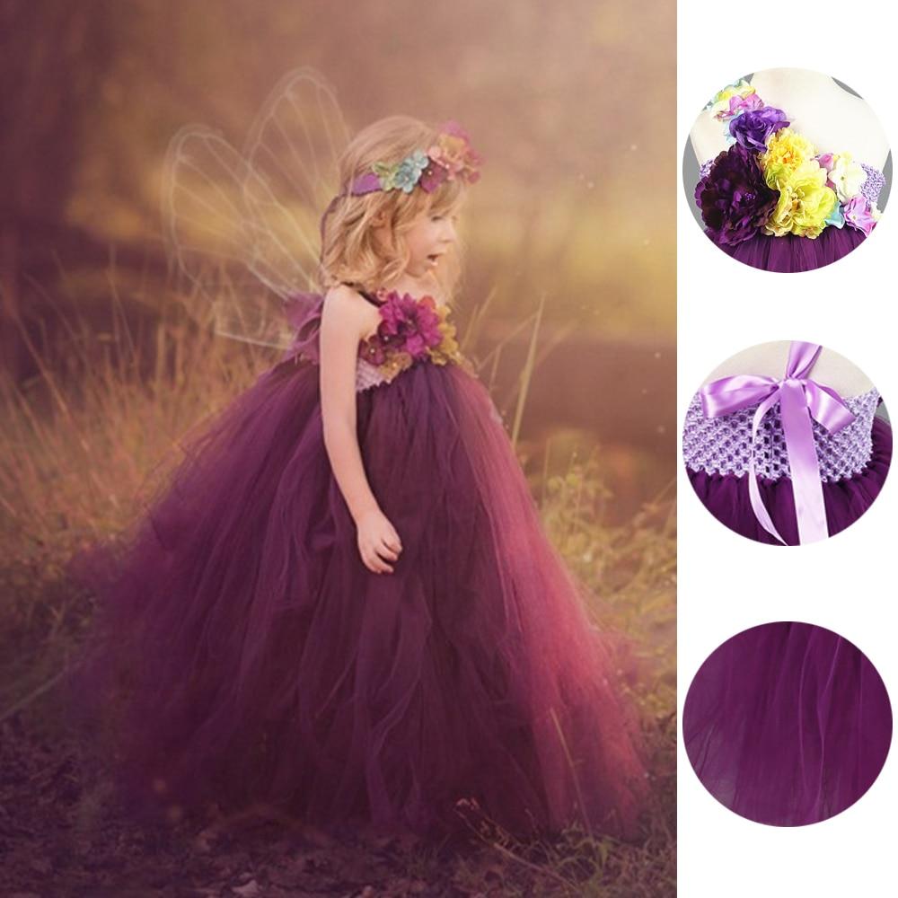 Princesse Fleur Fée tutu pour fille Robe Cheville-Longueur Pour la Fête D'anniversaire Boutique Cosplay Halloween Bébé Filles Balle robes de chambre