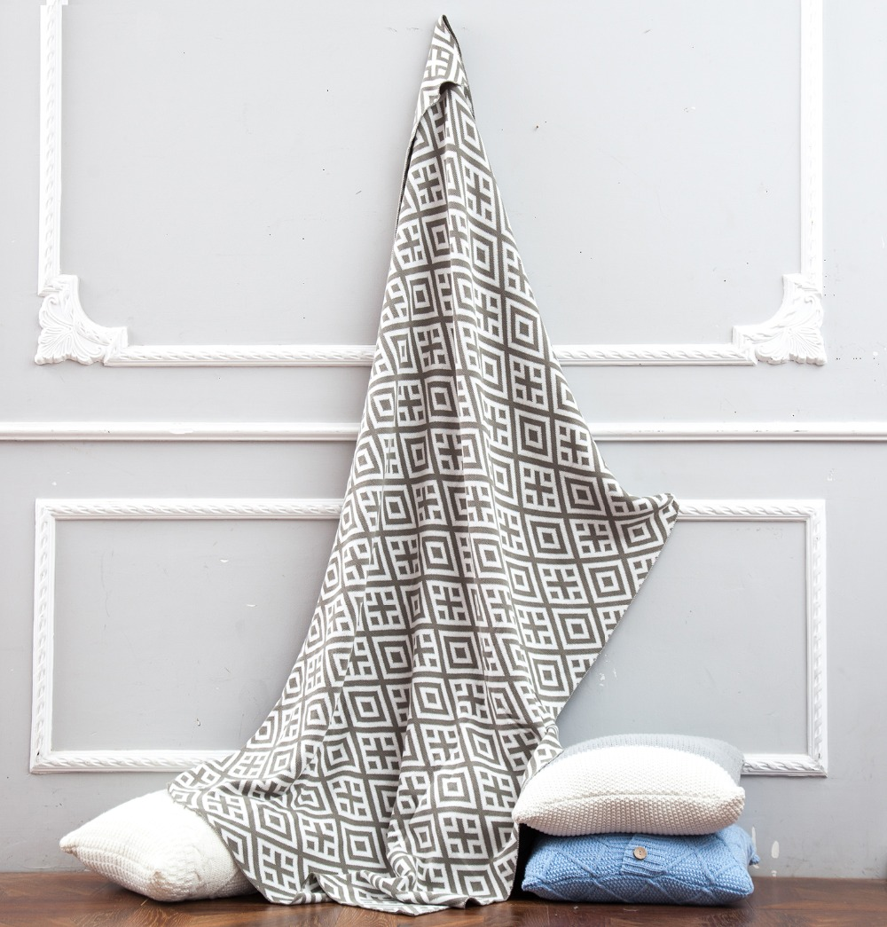 cotton plaid Jacquard blanket for bed sofa aircondition chunky knit weighted throw with tassels adult summer Bedspread in Blankets from Home Garden