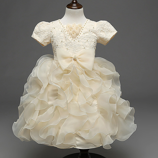 f62f826c0 Champagne Ruffles Ball Gown Flower Girl Dresses Pearls Bow Princess Pageant  Dresses Short Sleeve Kid Dress