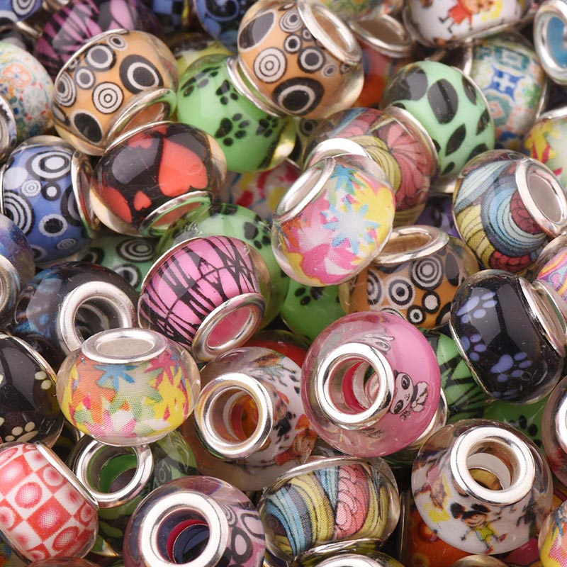 50Pcs/Lot Mix Color Silver Plated Buckle DIY Resin Plastic Bead Charm Loose Big Hole Fits for Pandora European Jewelry Bracelet(China)