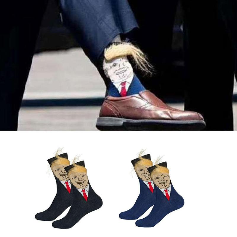 Trump Socks Novelty Funny Print Casual 3d Hair Socks Us Trump Socks Yellow Wig Skarpetki Marvel Sports Hip Hop Trend Socks